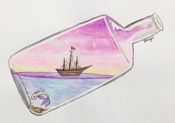 Ship in a Bottle Watercolor Practice by KnightravenStudios