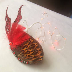Handmade Feather Fascinator w Red LEDs by Fahji