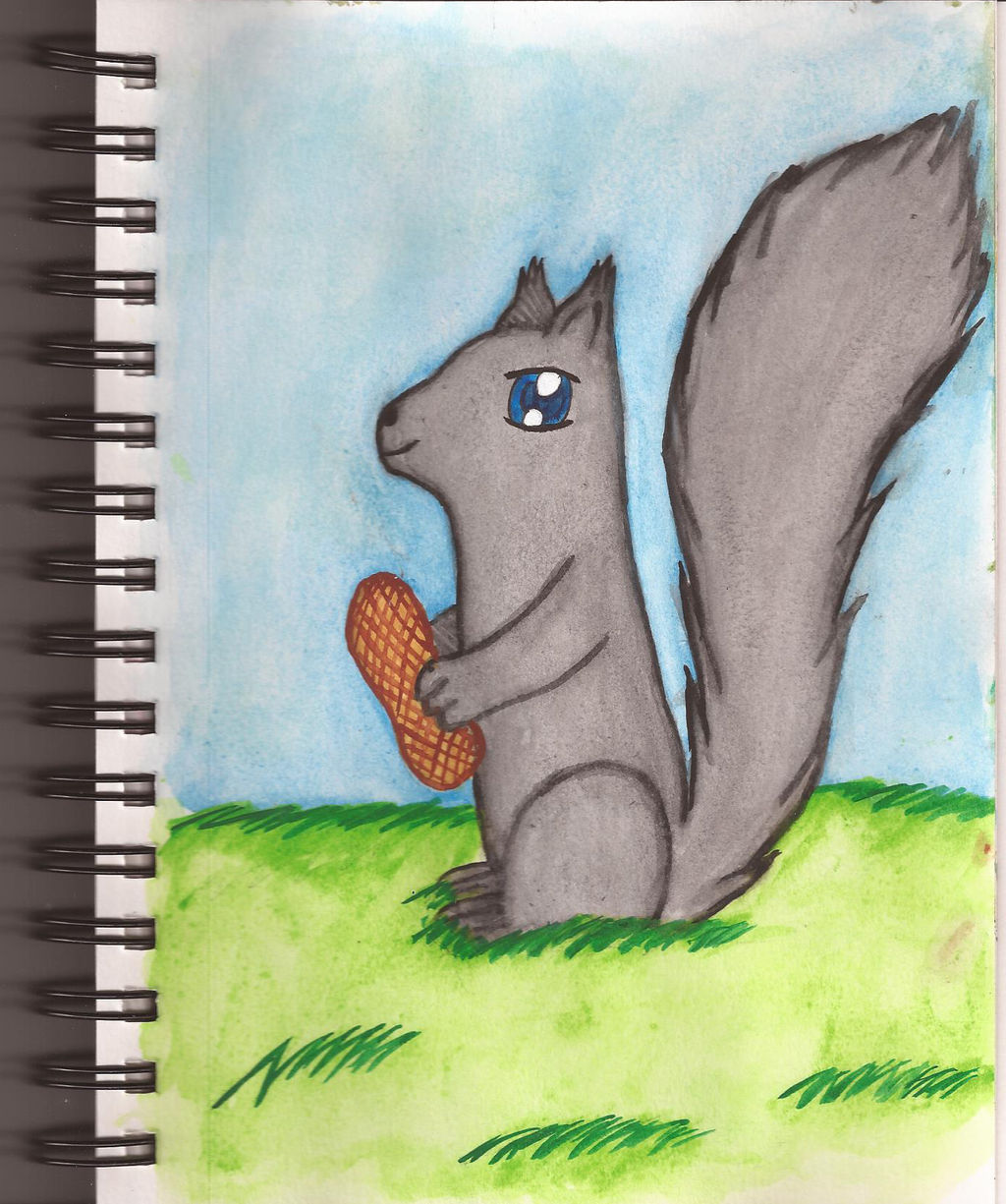 Watercolour Notebook #9: Squirrel with Peanut by Greenpolarbear47