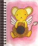 Watercolour Notebook #11: Kero-chan with Sunflower by Greenpolarbear47