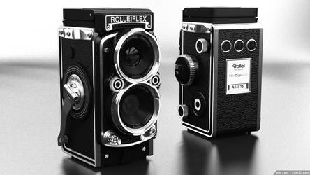 Rolleiflex Camera - both sides - BW by cain3D
