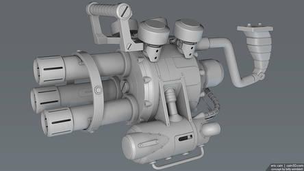 Fat Hammer grenade launcher minigun by cain3D