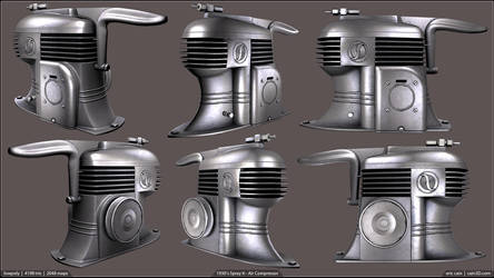Lowpoly - 1930's Spray It Air Compressor by cain3D