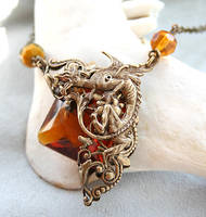 Victorian Gothic Dragon Stone Necklace by byrdldy