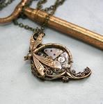 Victorian Steampunk Dragonfly Necklace by byrdldy