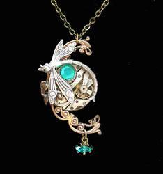 Victorian Steampunk Dragonfly Necklace Variation by byrdldy