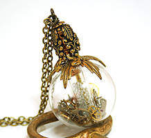 Steampunk Necklace Perfume Bottle by byrdldy