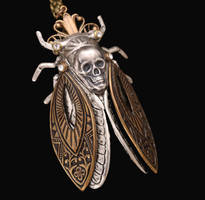 Death Cicada Insect Necklace by byrdldy