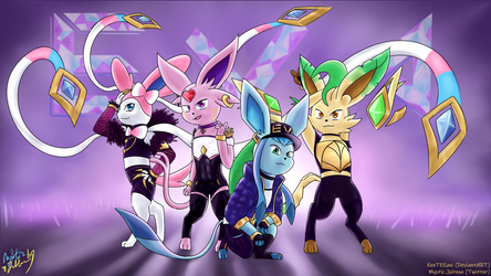 E/VA - K/DA as Eeveelutions! by KenTEEani