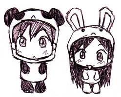 Bunny and Panda by refinnej24