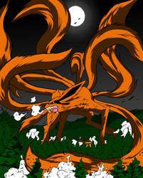 Nine Tailed Fox Demon Redone by CyaneRainBlack