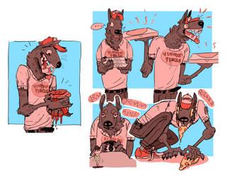 werewolf pizza boy by Jomajaba