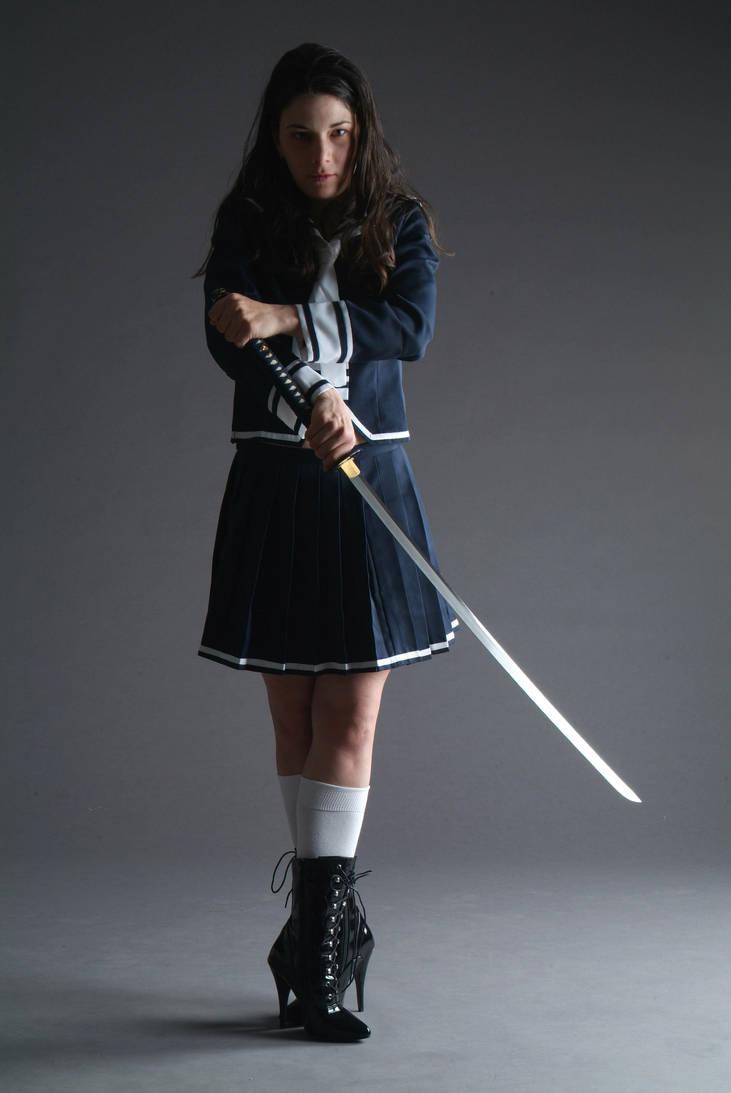 Samurai Schoolgirl by mjranum-stock