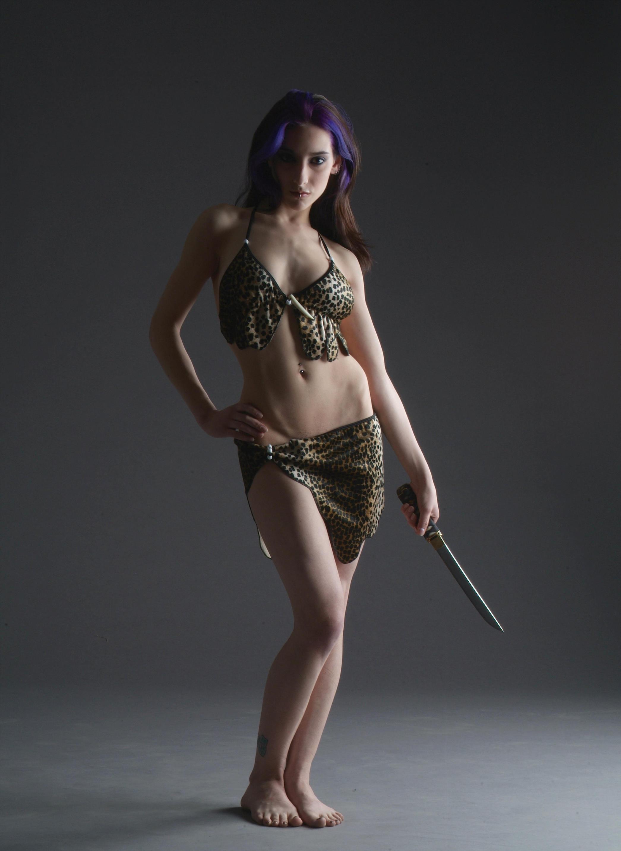 Jungle Huntress Girl by mjranum-stock