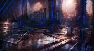 Electric Blue City by Adam-Varga