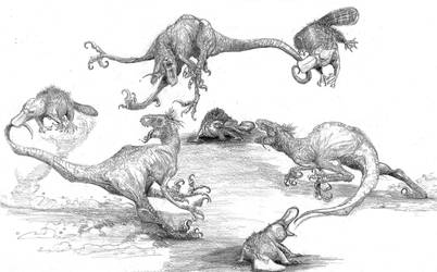 platypus playing with raptors by Zombiraptor