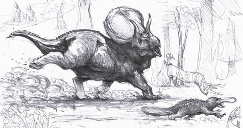 Triceratops and platypus race by Zombiraptor
