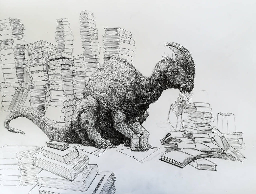 Parasaurolophus eating books by Zombiraptor