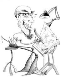 Self Poortrait sketching by Krow-Trayllis