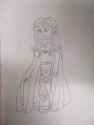 Princess Zelda OoT Young Lineart 7-11-18 by Flood7585