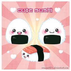 cute onigiri and sushi by jenysa971