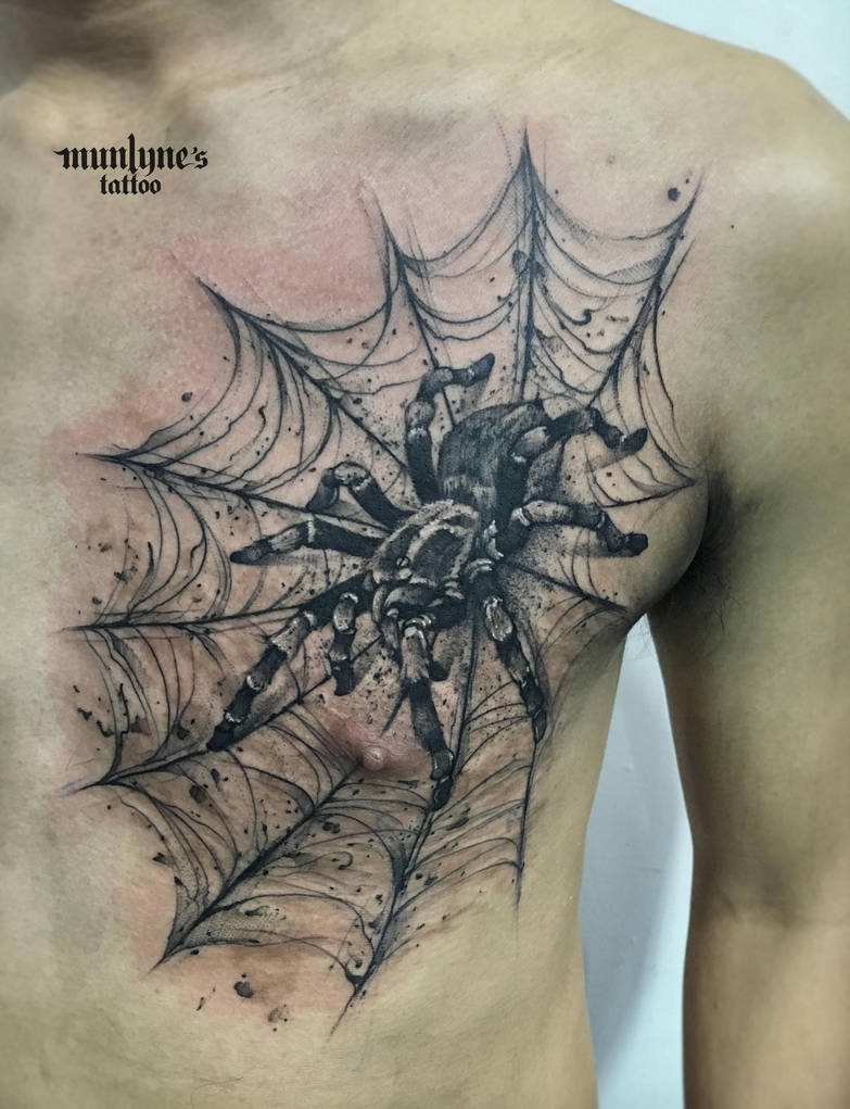 Spider and his webs coverup the reddish mark by munlyne