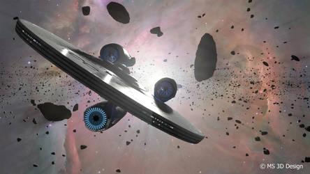 Enterprise and Asteroids by Sparmi