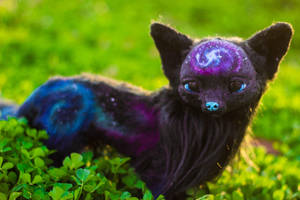 Handmade Poseable Galaxy Fox Art Doll by KaypeaCreations
