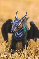 Handmade Poseable Galaxy Dragon Art Doll by KaypeaCreations