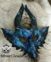 Galaxy Dragon Leather Mask by SilverCicada