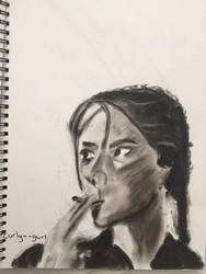 girl smoking in charcoal by curly--gurl