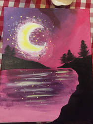 A Pink Night - Painting by ShadowFoxDrawings