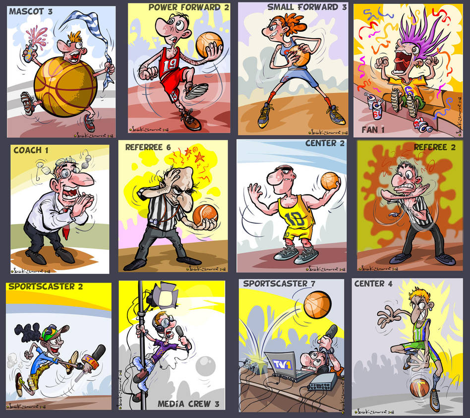 Funny Basketball characters for a card game. by Bobbart