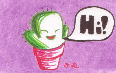 Inktober 2018 Day 25: Happy Cactus by Trillstar