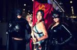 Lara Croft + Batman + Catwoman+ Soviet flag by OneMorePike