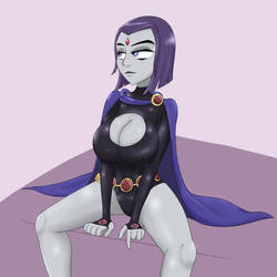 Raven Cleavage by DuskullDraws