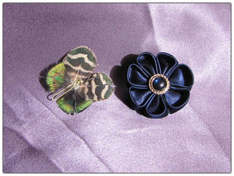 Tsumami and Butterfly Brooches by Ombry