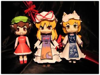 Yukari, Ran and Chen by Ombry