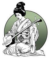 Geisha playing Shamisen by Asarea