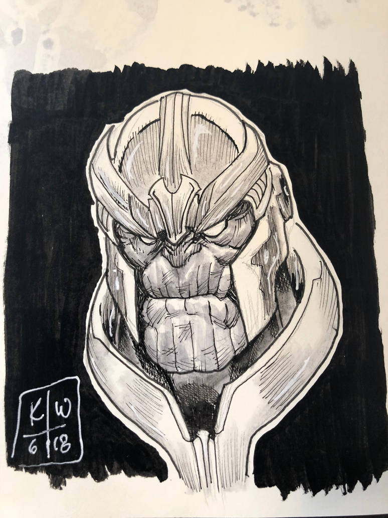 Thanos head sketch by KenWongArt
