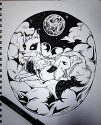 Astral Fox and Rabbit by AlienBun