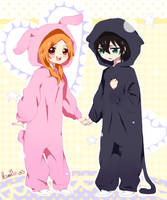bunny + cat by ksmile1313