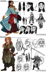 College Work: Alara and Dagny Designs by the-Orator