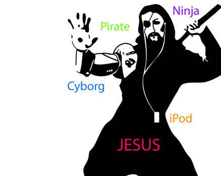 Cyborg Ninja Pirate Ipod Jesus by DarkDemin