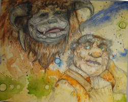 Ludo and Hoggle in progress (color) by PrehistoricRobot