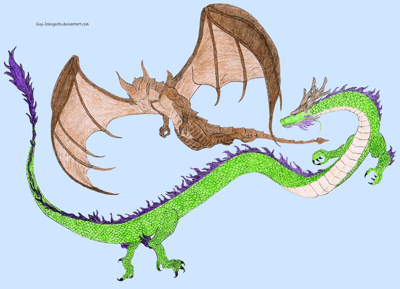 European Dragon: Asian Dragon Vs European Dragon Colored By Guy-Inkognito