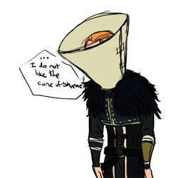 Anders - cone of shame by rabbitzoro