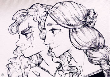 Kima and Allura (Traveling Sketchbook Ed.) by FlockofFlamingos