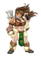 Female Dwarven Barbarian by Mfiorito