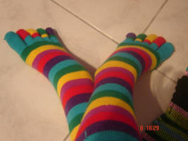RAINBOW TOE SOCKS by kenzedie